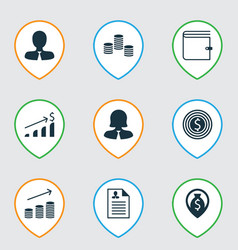 Set of 9 human resources icons includes wallet vector