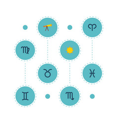 set of astronomy icons flat style symbols with vector image