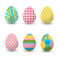 set of realistic eggs on white background easter vector image