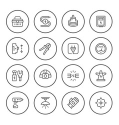 set round line icons of electricity vector image
