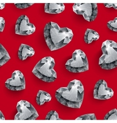 Shiny diamond hearts on dark red background vector image