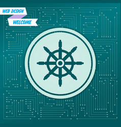 ship steering wheel icon on a green background vector image