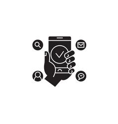 social media marketing black concept icon vector image