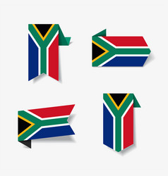 South african flag stickers and labels vector