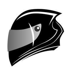 Stylized black auto and moto helmet isolated icon vector