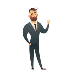 successful beard businessman character in suit vector image