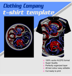 T-shirt template fully editable with snake vector