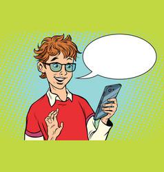 Teenager talking on phone joy vector