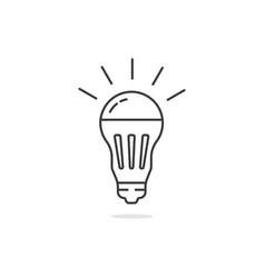 thin line simple black led bulb vector image