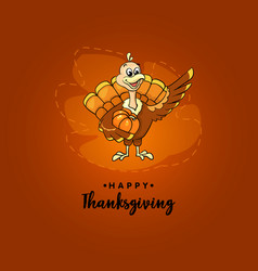 turkey bird for happy thanksgiving celebration vector image