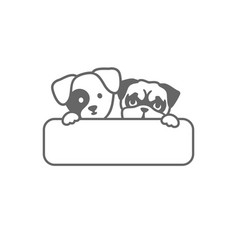 Two grey heads of dogs behind a sign vector