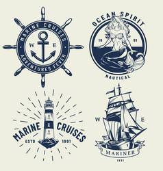 Vintage monochrome nautical logos set vector