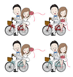 wedding cartoon bride and groom riding bicycle vector image