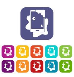 Wet phone icons set flat vector