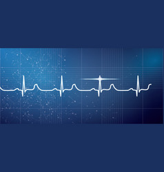 White heart beat pulse electrocardiogram rhythm vector