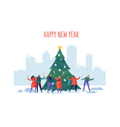 Winter holidays in the city new year and christmas vector
