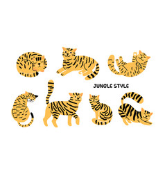Yellow black cats collection vector