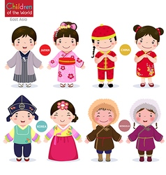 Children of the world Japan China Korea and vector image vector image