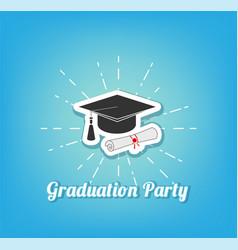 graduation hat graduation party lettering vector image