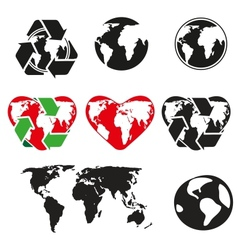 icons globe and arrows vector image vector image