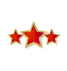 retro light sign three gold red stars vector image vector image