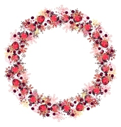 Round frame with different red snowflakes vector image