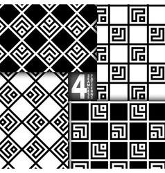 Simple Geometric Square Based Black White Seamless vector image