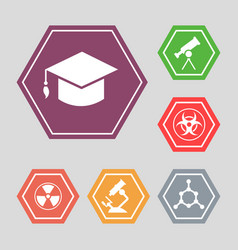 white science icons - molecule hat vector image vector image