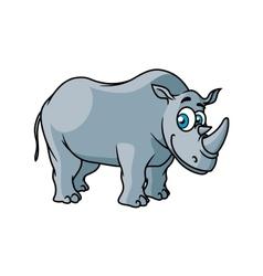 Cartoon grey rhino character vector