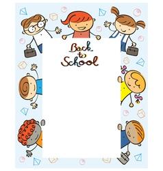 Kindergarten Kids Back to School Frame vector image