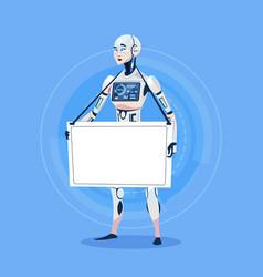 Modern robot holding empty banner futuristic vector