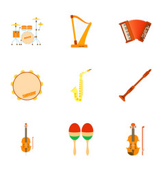 Musical tools icons set flat style vector