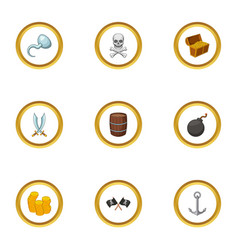 pirate icons set cartoon style vector image