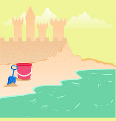 summer fun - sea beach background vector image