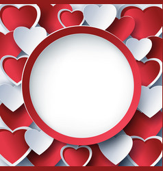 valentine round frame with 3d red heart vector image