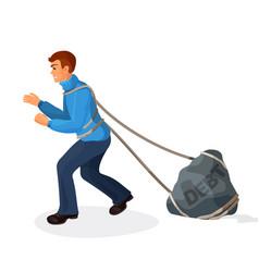 entangled in ropes businessman pulls stone burden vector image