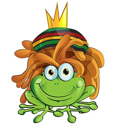 rasta frog cartoon isolate on white vector image vector image