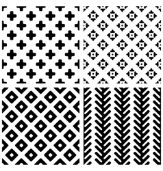 Set of 4 monochrome geometric seamless patterns vector image