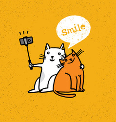 two cats making photo using selfie stick funny vector image vector image