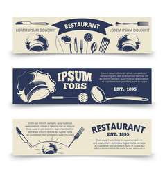 vintage restaurant horizontal banners template vector image vector image