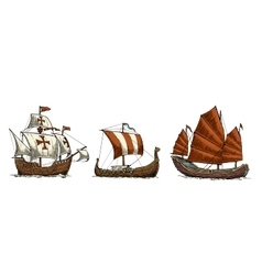 Caravel drakkar junk Set sailing ships floating vector image