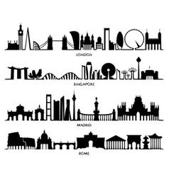 city silhouette london singapore madrid rome vector image vector image