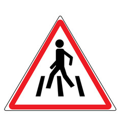 crosswalk sign in red triangle vector image