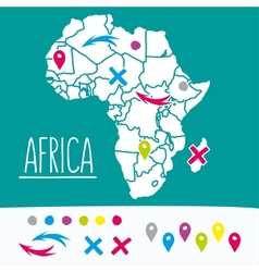 Hand drawn style flat Africa travel map with pins vector image vector image