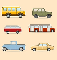 Retro transport icons set vector image vector image