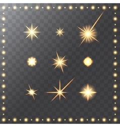 Set of glowing golden merry christmas stars vector