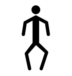 A man with crooked legs the black color icon vector