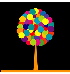 Abstract colored tree over black background vector image