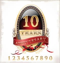 Anniversary red and gold label vector