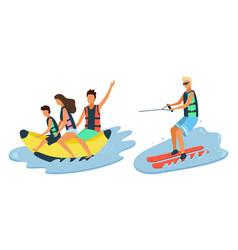 Banana boat riding water skiing beach activities vector